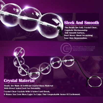 Mizzzee Crystal Anus Beads Mini Size Pull Glass Anus Beads Vaginal Balls Anus Plug Butt Masturbation Pull Ring Erotic G spot Prostate Massage Sex Toy for Couple