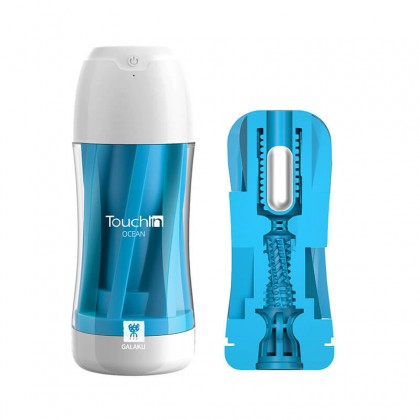 Japan GALAKU Touch In Vibration Sucking Mastubator Cup Chargeable - Ocean Masturbator For Men Masturbation Cup Adult Sex Toy For Men Silicone Vagina Real Pussy Alat Seks Lelaki