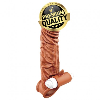 PLEASE ME Liquid Silicon Penis Extender Vibrating Sleeve L:15cm - D:4cm Male Delay Soft Silicone Penis Vibrating Sleeve Condom Enlargement Extender Reusable Condoms Extension Sleeve Adult Toy For Men Alat Seks Lelaki (Semburan Tahan Lama)