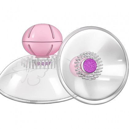MIZZZEE - Breast Suction Cups Vibrator Spinning Nipple Massager Chargeable - Transparent Female Masturbation Vibrating Nipple Clamps Vibrators Sex Toys for Women Clitoris Clip Nipple Vibrators Breast Stimulator Massager Alat Seks Toy Perempuan