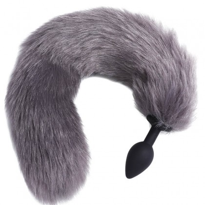 Mizzzee - Fox Tail Silicone Anal Plugs Gray Stainless Steel Bunny Plugs Anus Beads Toys Tail Butt Metal Anus Plug Sexy Romance Games Sex Toys For Women