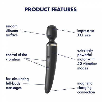 Satisfyer - Wand-er Woman Massage Wands Chargeable - Black Powerful Multi-Speed Magic Wand Body Massager Sex Toys for Women Clitoris Stimulator AV Rod G-spot Vibrators Orgasm Adult Sex Toy Alat Seks Perempuan