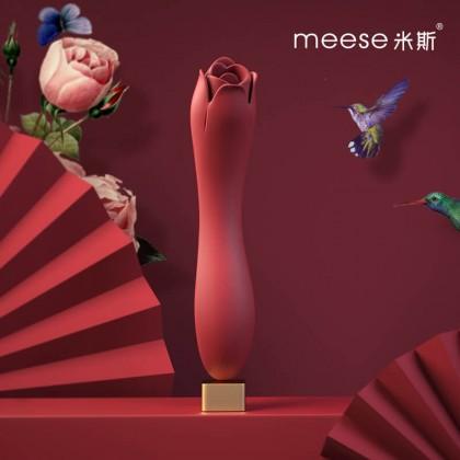 Meese - Dora Rose Tongue Licking Massager G-Spot Vibrator Chargeable - Red Powerful Multi-Speed Magic Wand Body Massager Sex Toys for Women Clitoris Stimulator AV Rod G-spot Vibrators Orgasm Adult Sex Toy Alat Seks Perempuan