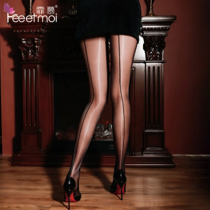 FEE ET MOI Sexy Open File Shiny Glossy Stockings Black Sexy Silk Stockings Women's Sheer Thigh-High Stockings Charming Hosiery Suspender Fishnet Stockings