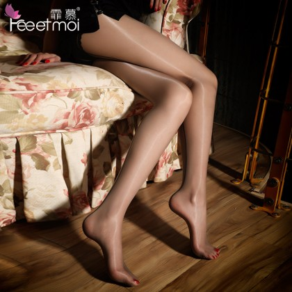 FEE ET MOI Sexy Open File Shiny Glossy Stockings Grey Sexy Silk Stockings Women's Sheer Thigh-High Stockings Charming Hosiery Suspender Fishnet Stockings