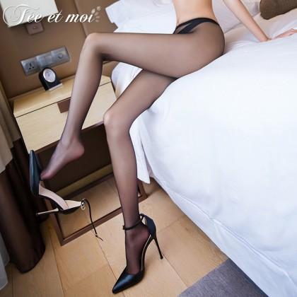 FEE ET MOI Ultra-Thin Open File Stocking Black Sexy Silk Stockings Women's Sheer Thigh-High Stockings Charming Hosiery Suspender Fishnet Stockings