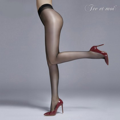 FEE ET MOI Sexy Shiny Glossy Open File Stocking Black Sexy Silk Stockings Women's Sheer Thigh-High Stockings Charming Hosiery Suspender Fishnet Stockings