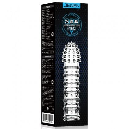 JEUSN - Crystal Penis Sleeve Standard Type L:14cm - D:4.1cm Male Delay Soft Silicone Penis Sleeve Condom Extension Sleeve Adult Toy For Men Alat Seks Lelaki (Semburan Tahan Lama)
