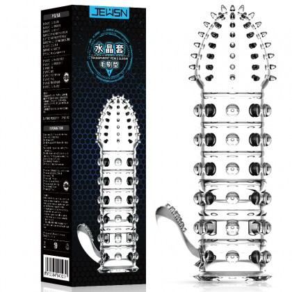 JEUSN - Crystal Penis Sleeve Brush Type L:12cm - D:4.1cm Male Delay Soft Silicone Penis Sleeve Condom Extension Sleeve Adult Toy For Men Alat Seks Lelaki (Semburan Tahan Lama)