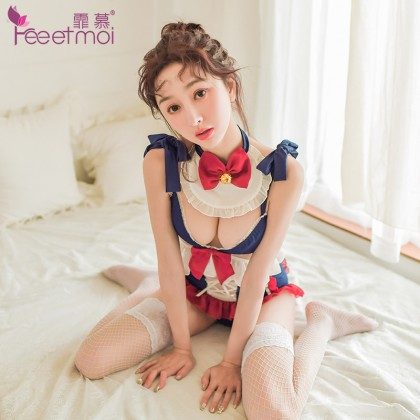 FEE ET MOI Sexy Lace Maid Lingerie Blue Sexy Lingerie Cute Cosplay Costumes Charming Nightdress Babydoll Nightwear Sexy Sleepwear Free Size For Women Transparent Dress Elasticity